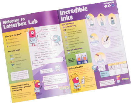 colourful illustrated science kit instruction book