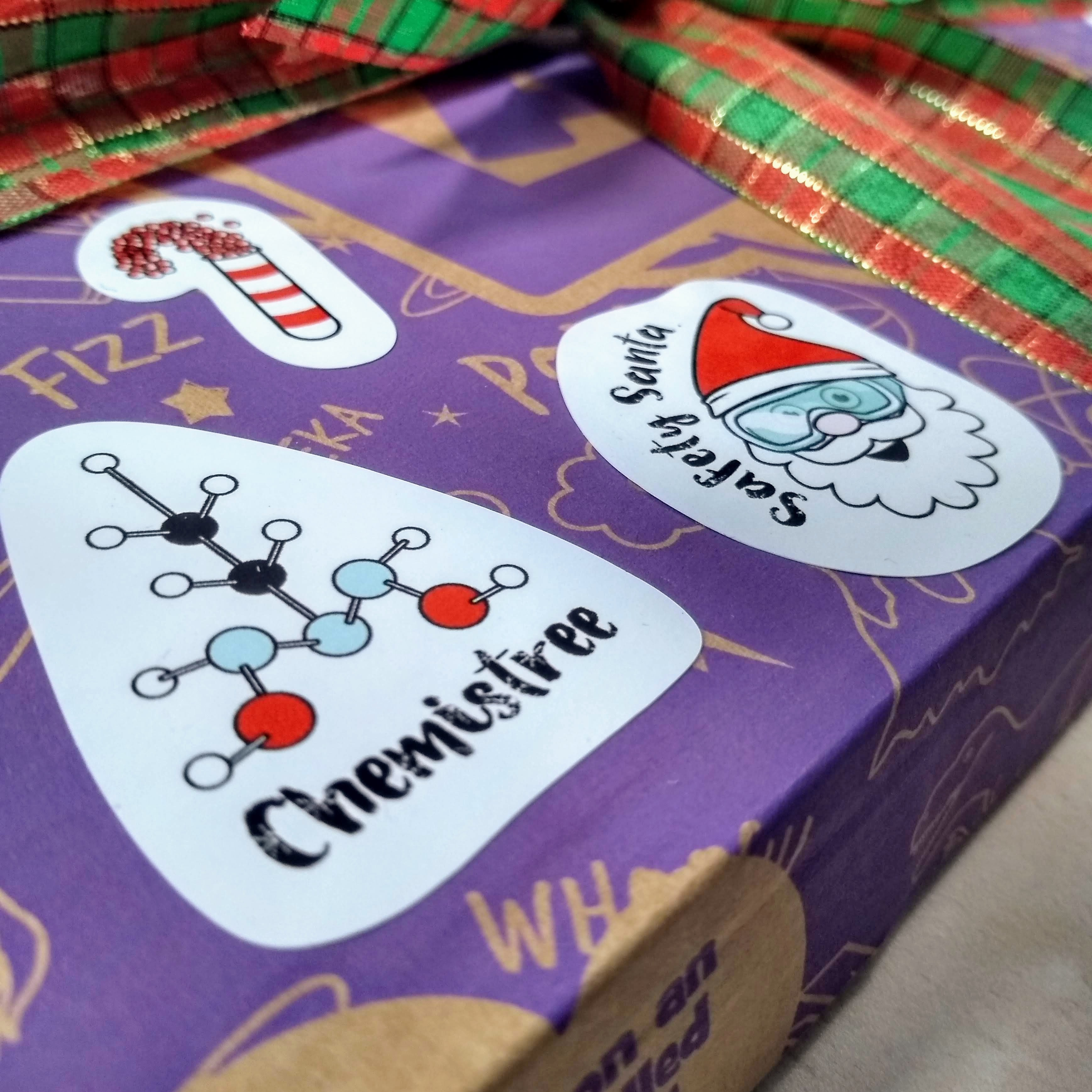 Each sticker combines science and festive fun in its own way!
