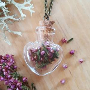 Scottish Purple Heather Heart Bottle Necklace, £12, Butterfly and Toadstool