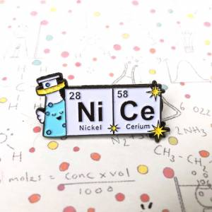 """Conical flask periodic table science pin """"NiCe"""", £6, Cutie and the Feast"""